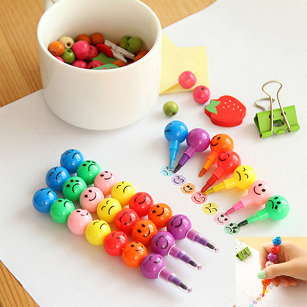 HENGHOME 7 Colors Cartoon Emoji Print Pencils Lovely Round Graffiti Pen Stationery Gifts For Kids Wax Crayon Pencil 11.8cm