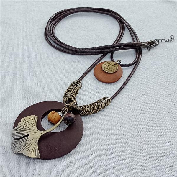 2018 Vintage collana lunga moda gioielli fatti a mano indossando collana a più strati in lega di cuoio corda in lega foglia pendente di fascino