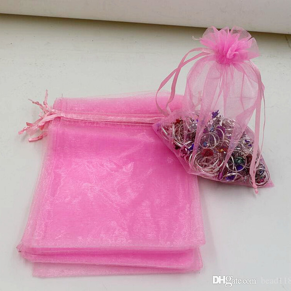 best selling Hot Sales ! 100pcs lots Pink With Drawstring Organza Jewelry Gift Pouch Bags For Wedding favors beads Jewelry 7x9cm , 9x11 cm .13x18 cm etc.