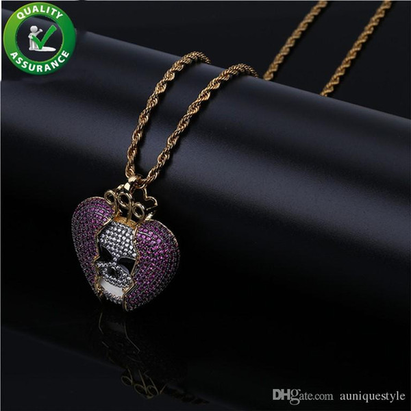 Mens Hip Hop Jewelry Designer Necklace Iced Out Pendant Gold Chain Diamond Solid Break Heart Skull Pendants Luxury Bling Charms Rapper DJ