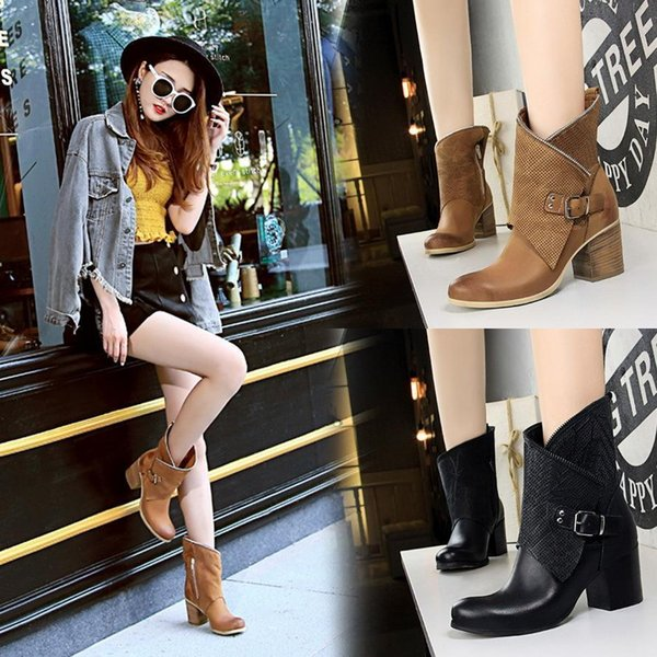 Sexy2019 Knight Boots Wood Grain Thick High Heel Round Toe Martin Boots PU Leather Belt Buckle Pop Booties With Zipper 6009