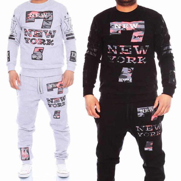 Chándales de Sportwear de la camiseta pantalones traje Activo tamaño M-2XL al por mayor de los hombres de moda otoño invierno con capucha Dos-pedazos chándales de los hombres