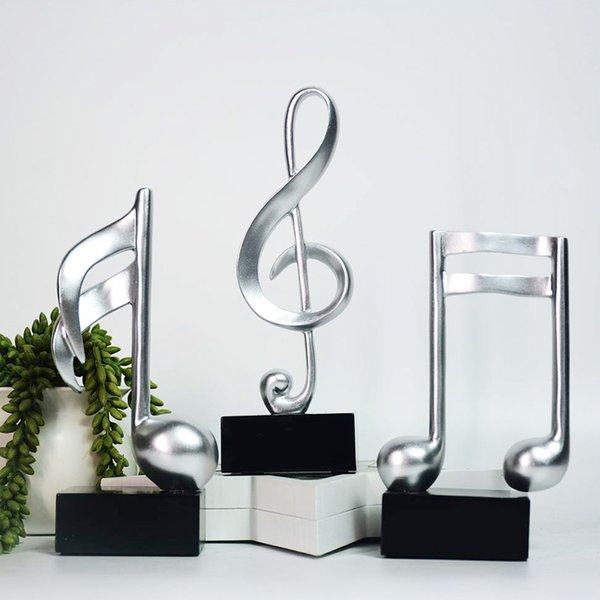 top popular Fashion Resin Music Note Statue Home Decor Decoration Sculpture Collectible Arts Crafts 19cm Music Gifts 2021
