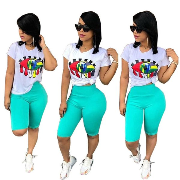 Women Big Eye Print Tracksuit T-Shirt + Shorts Pants 2pcs Set Summer Sport Suit Ladies 2 Pieces Outfits Sportswear New Clothes S-3XL A32802