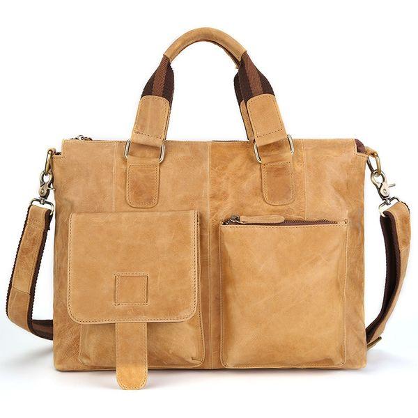 Gelb Braun Crazy House Leder Herren Aktentasche Vintage Russische Männer Leder Handtaschen 100% Echtes Kuh Leder Laptop Taschen # 214887
