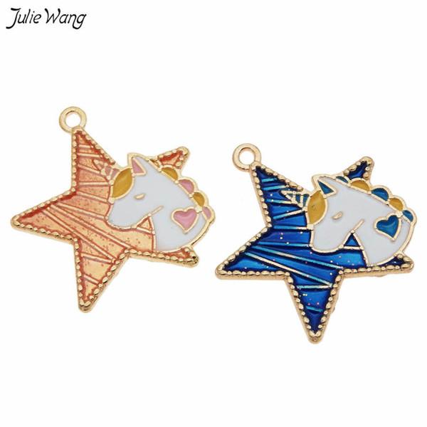 julie wang 10pcs enamel jewelry pendant enamel unicorn star charm blue orange bracelet earring accessories jewelry making