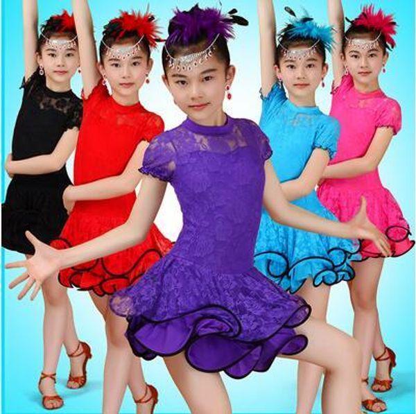 children Dance Costumes For Kids Sexy Lace Latin Dance Dress Ballroom Dresses Salsa Dancewear Tango Clothes For Girl skirt