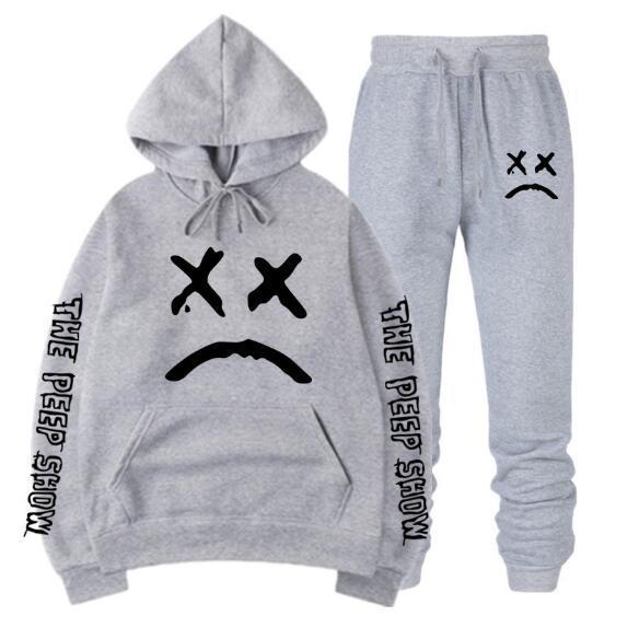 Ücretsiz nakliye Lil Peep Aşk Kazak Erkekler Kadınlar Casual Kazak Hip Hop Kapüşonlular Sad Yüz Boys Hoody + Pantolon QJT06