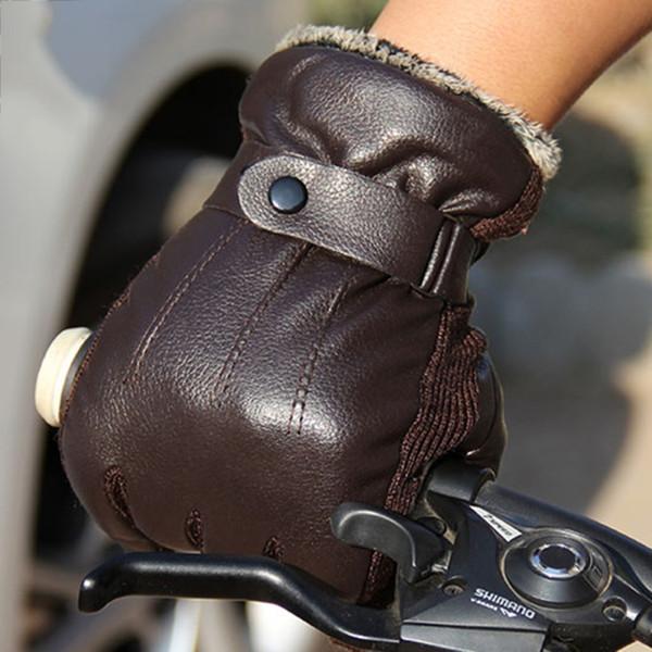 New Men PU Leather Short Thin/Thick Black/Brown Glove Man Gym Luvas Car Driving Mittens 2017 Spring/Winter W1