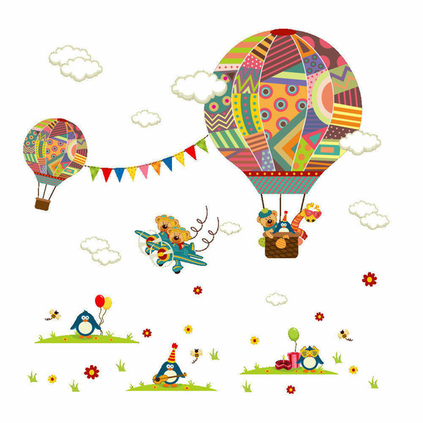Details about Colourful Air Balloon & Plane Wall Sticker Removable Vinyl Decal Kids Room Décor Details about Colourful Air Balloon & Plan