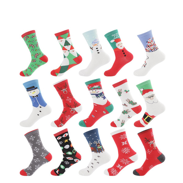 best selling Christmas Socks Snowman Santa Claus Middle Stockings Spring And Autumn Lady Women Warm Wear Resistant Sock LJJA3049