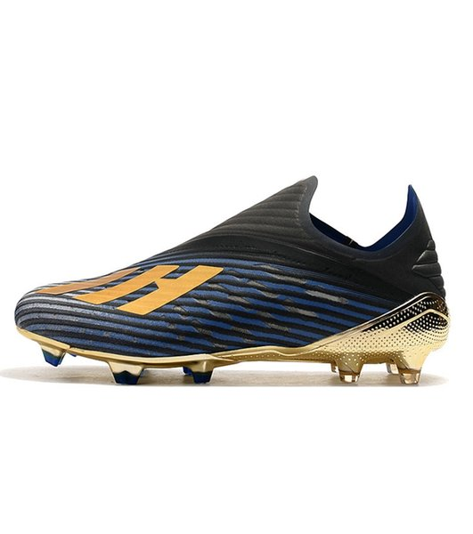 2019 New Laceless X 19+ Inner Game SPEEDMESH FG Mens Soccer Cleats Dark Script 302 Redirect Pack Navy Black Shoes football boots