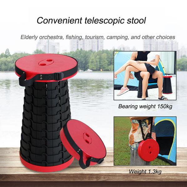 Tabouret pliant télescopique robuste en plastique Tabouret portable léger Peut contenir jusqu'à 330 Lbs extérieur Camping pêche Tabouret Chaise pliante