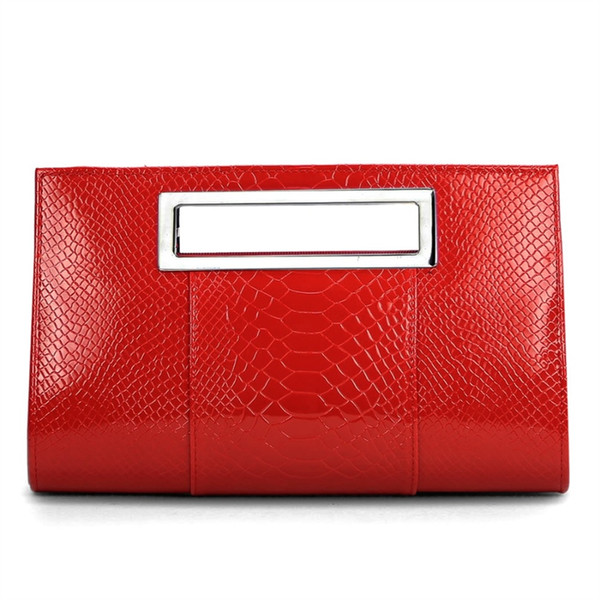 Korean Patent Alligator PU Leather Clutch Bag Women Square Shoulder Handbag Small Bag Lady Evening Red Bolsa Feminina #284729
