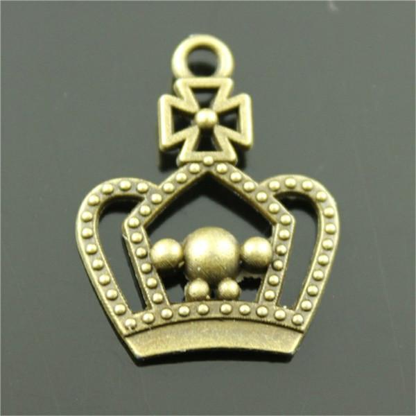 100 stücke Charm Crown Vintage Mittelalterlichen Crown Charms Anhänger Für Schmuck Machen Antike Bronze Farbe Crown Charms 20x25mm
