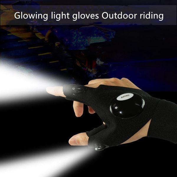 승마를 실행 주도 장갑 손전등 발광 낚시 장갑 통기성 야외 조명 발광 장갑 손가락 빛 빛나는 장갑