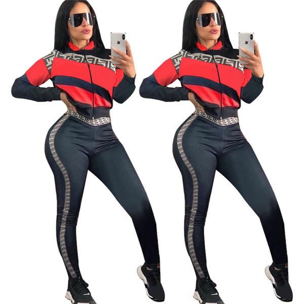 Jaqueta listrada + Calças Treino 2019 Designer F Carta Imprimir Roupas de Manga Longa Mulheres Trandy Marca Club Wear Terno Esportes Joggers Set A21505