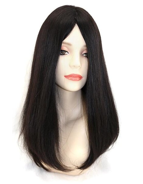 10A Siyah Renk Moğol Virgin İnsan Saç Ipeksi Düz 4x4 Ipek Taban Yahudi Peruk Kosher Peruk En Sheitels Ücretsiz nakliye