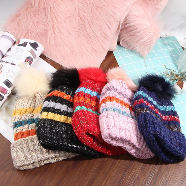Novo Muffs Ear Inverno Dupla chapéu de Lã Quente cap Arco Íris arco de Tricô Cap mens designer chapéus de esqui Ao Ar Livre cap2C5093