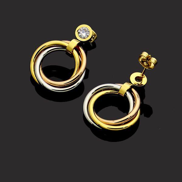 design de luxe femmes bijoux oreilles en acier de titane plaqué or 18K mélange gemme Amour couleur acier classiques Boucles d'oreilles pour les bijoux femmes