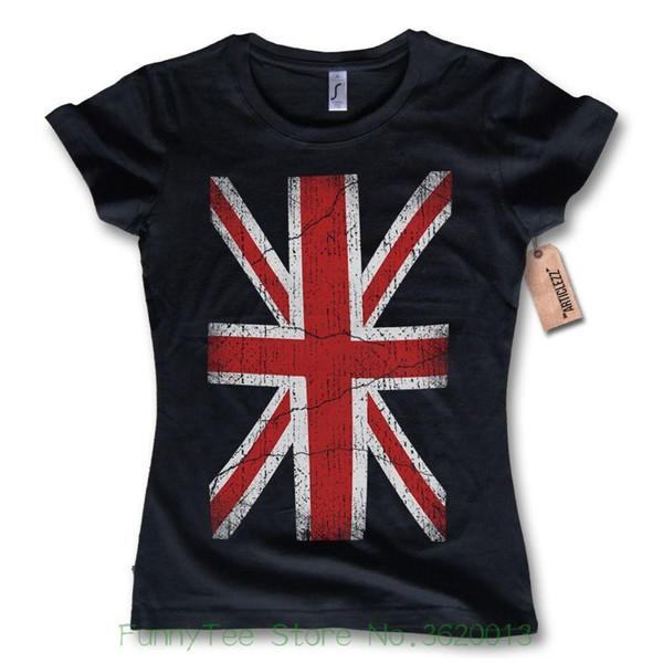 b6cbd56bf20728 Women's Tee Damen T-shirt - Flag Union Jack United Kingdom Flagge Baumwolle  Schwarz S M L