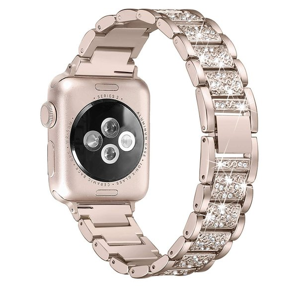 Para Apple Watch band 40mm 44mm 38mm 42mm mujeres Diamond Band para Apple Watch serie 4 3 2 1 iWatch pulsera brazalete de acero inoxidable