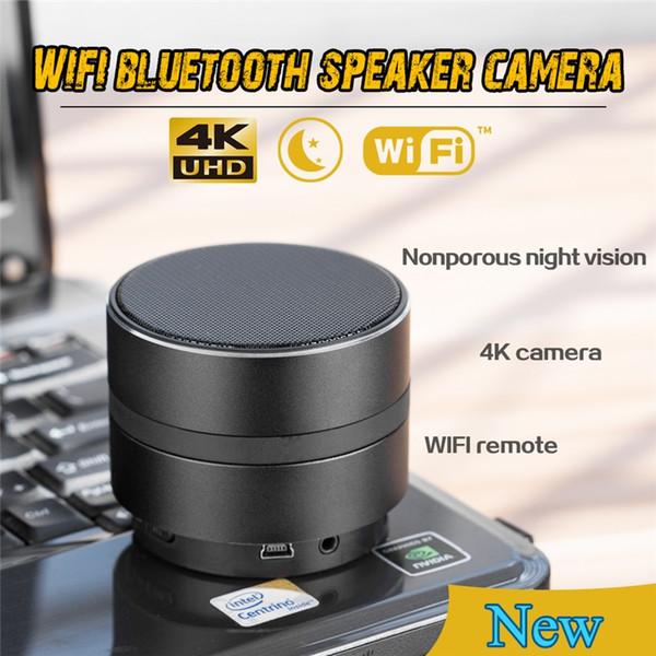 Wifi Ağ Kamera Bluetooth Spkeaker 4 K Ultra HD Mini Kamera Video Kaydedici ile Gerçek Zamanlı Görünüm Gece Görüş Dadı Kam IOS Android için