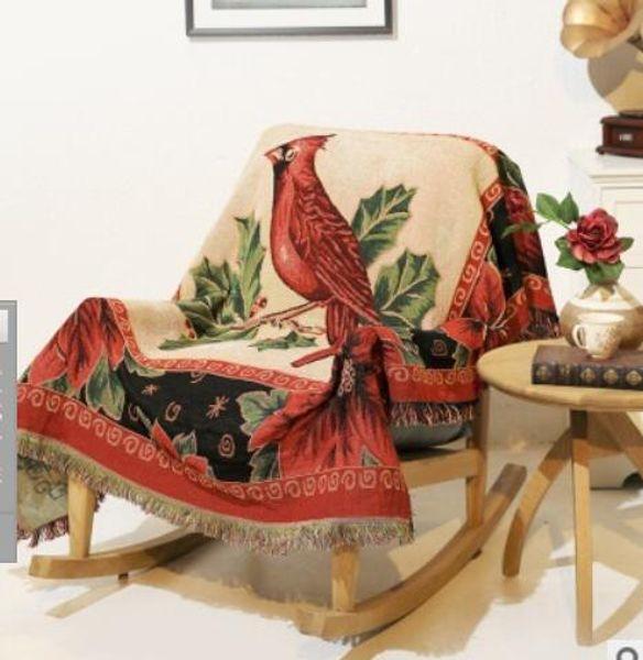 Cashmere blanket fashion winter Thicken Home Travel Warm Bird pattern knit jacquard wool blanket tassel side sofa towel tapestry