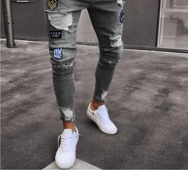 3c6f90f7886 Модные мужские джинсы сплошной цвет рваные рваные зауженные джинсы Хип-хоп  Тонкая молния Fly Ripped
