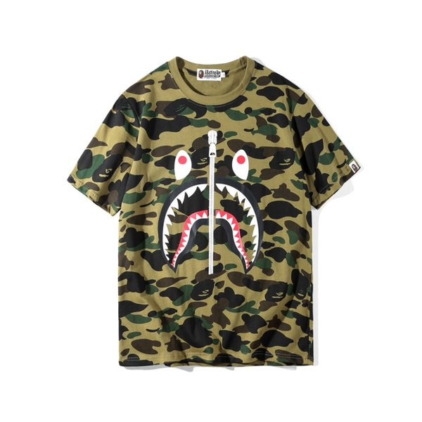 19d25c6d Brand Mens women Tshirt Camouflage Shark Printing Short-sleeved T Shirts  Tees Sweater Shirts Round Neck Tops M-2XL