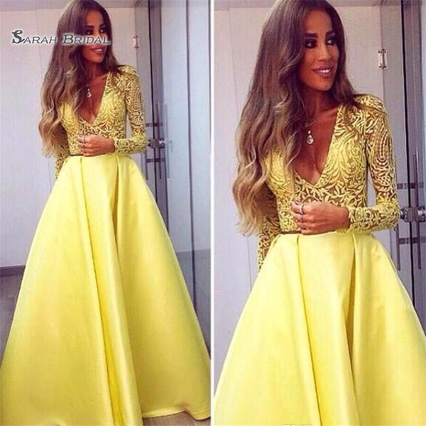 Dubai Abaya A-Line Evening Gowns Long Sleeves V neck Lace Dress Evening Wear Prom Party Dresses