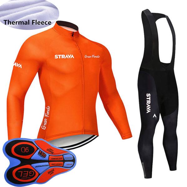 New Team STRAVA winter Men cycling jersey Set long Sleeves thermal fleece bike shirt bib pants suit road bicycle Outfits sportswear Y092101