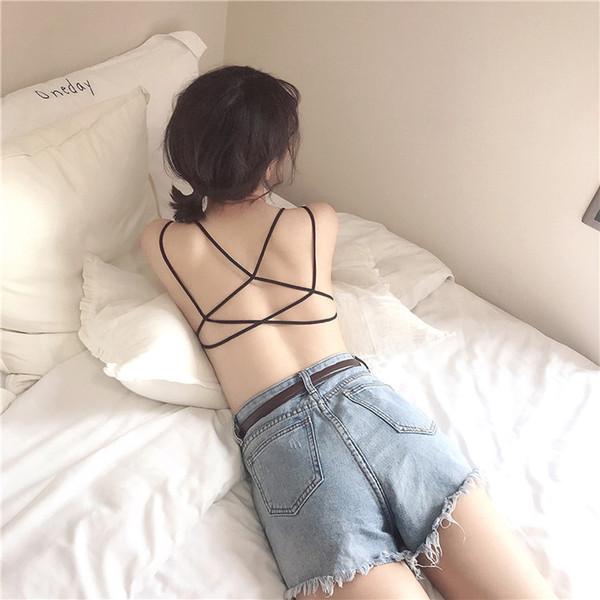 New style back cross beauty back underwear without steel ring gathered one-piece bra girl seamless underwear