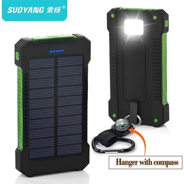 Top Solar Power Bank À Prova D 'Água 30000 mAh Carregador Solar Portas Carregador Externo Powerbank para Xiaomi Smartphone com Luz LED