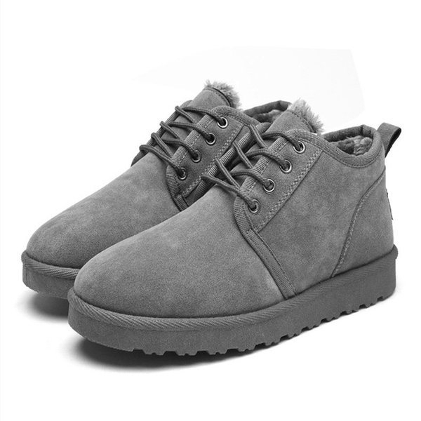 Classic Men Warm Cotton Boots Winter Plush Linning Snow Boots Outdoor Suede Lace-up Low Heel Shoes Men Soft Flat Antiskid Casual Boots