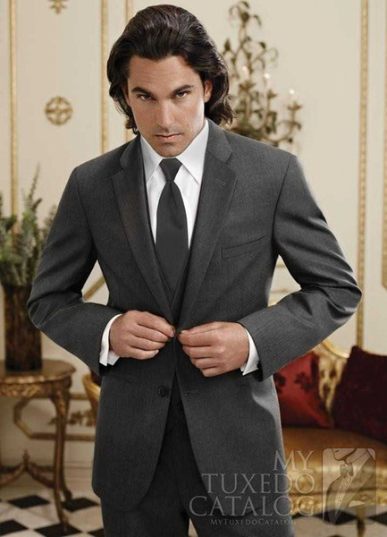 Classic Design Dark Grey Groom Tuxedos Notch Lapel Two Button Groomsmen Mens Wedding Tuxedos Excellent Man Suit(Jacket+Pants+Vest+Tie) 123