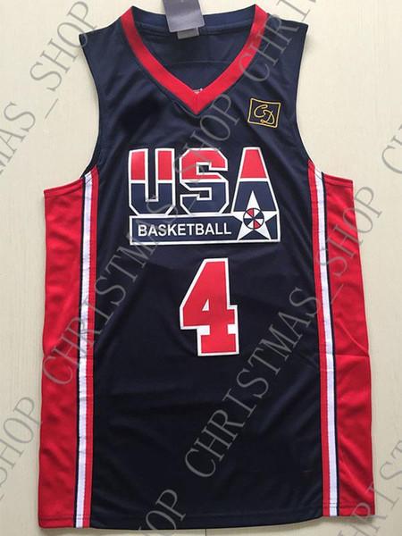 Pas cher en gros Christian Laettner Jersey 1992 USA Olympique Dream Team Personnaliser un maillot de basket HOMME FEMME JEUNESSE