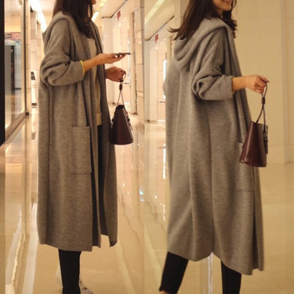 Fashion Long Sleeve Cardigan Women Sweater Autumn Winter Knitted Hooded Cardigan Female Casual Loose Outwear Tops
