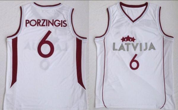 College Europa New 6 Latvija Team Kristaps Porzingis Trikot Herren Basketball Trikot retro Weiß Vintage genähtes Hemd Klassisch europäisch 19