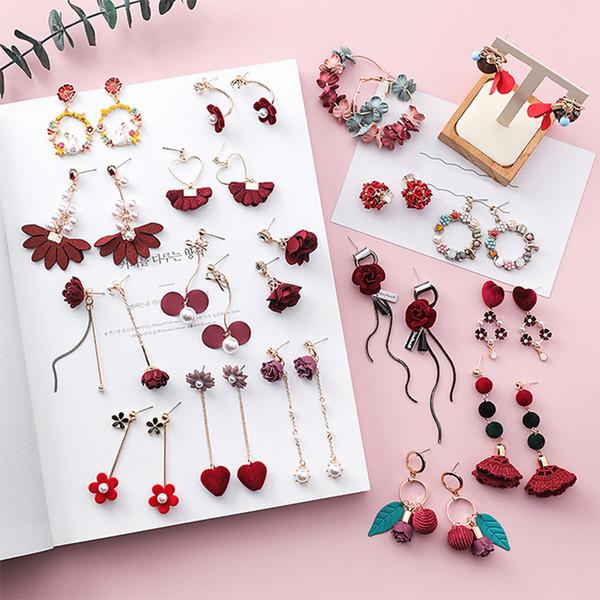 Red Party Dangle Imitation Perle Braut 1Pair Seaside Frauen Lange Tropfenohrring Mädchen Schöne Vintage 10 Farben Blume Einzigartig