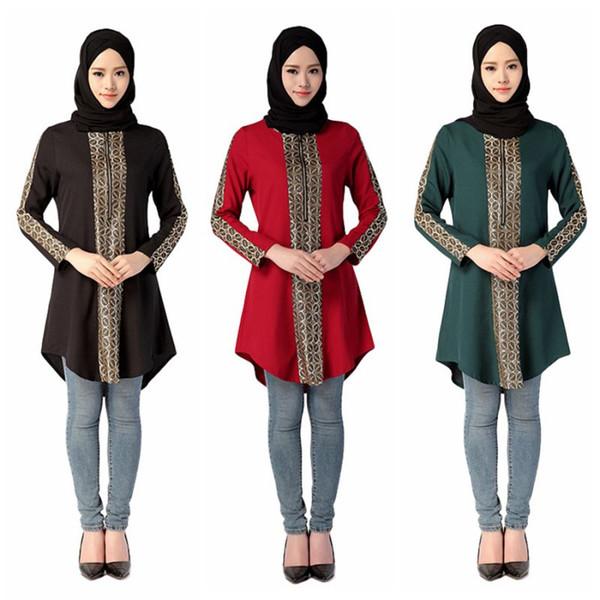 Middle East Abayas Muslim Blouse Islamic Clothing For Women Turkish Malaysian Saudi Dubai Style Top
