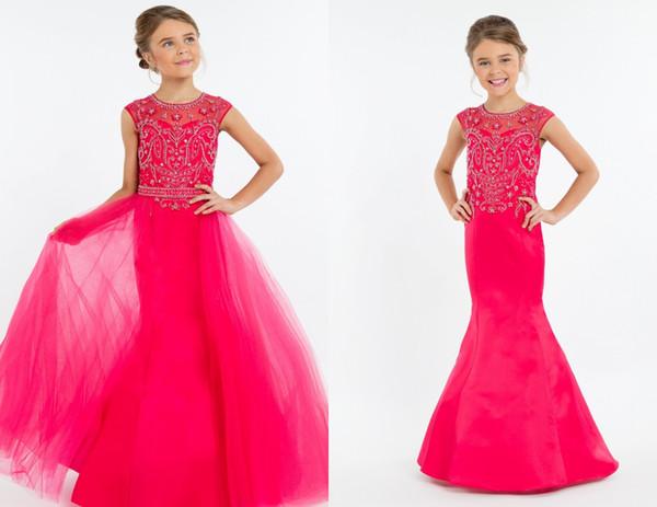 Hot Pink Destacável Trem Meninas Pageant Vestidos 2019 Barato Longo Sereia Oco de Volta Strass Frisado Lantejoulas Tule Longo Barato Crianças Formal