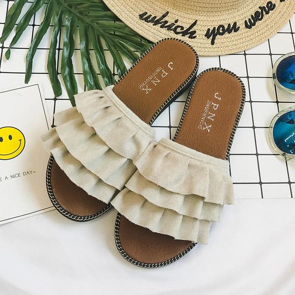 Ruffles Slippers Vintage Flats Summer Gladiator Slides Platform Shoes Woman Slip On Casual Women Shoes fgb67