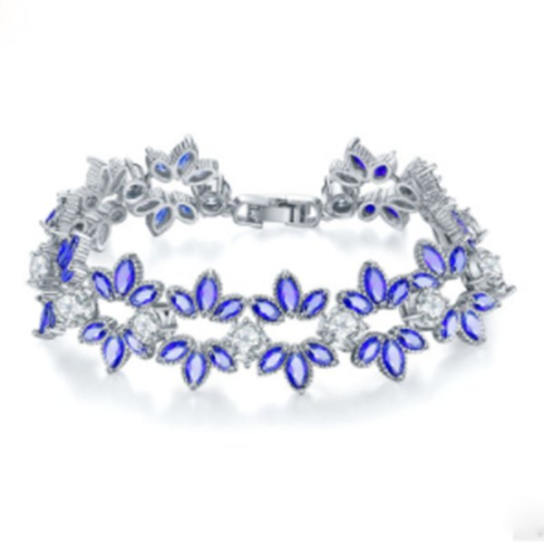 Best Selling Colorful Shining Snowflake Zircon Bracelet Simple Ice Flower Jewelry Female Popular Jewelry for Couple