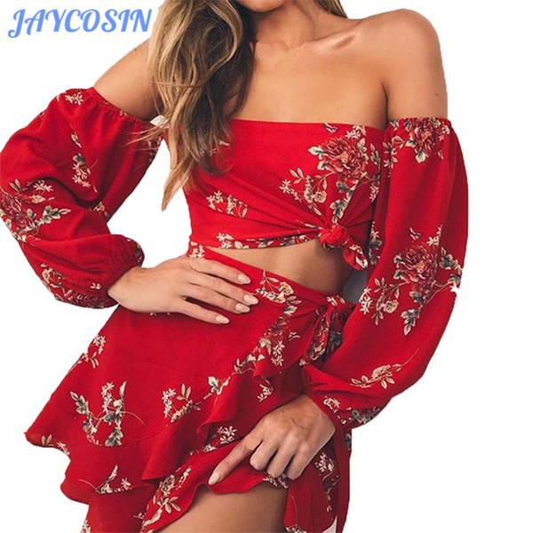 JAYCOSIN Frauen Set Kleidung Sexy Sommer Langarm Blumendruck Zweiteiler Trägerlos Schulterfrei Bluse Tops + Print Rock Anzug