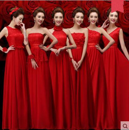 Weiß Rot Brautjungfernkleider Lange Chiffon Eine Linie Trauzeugin Kleid 2019 Günstige Brautjungfer Kleid Unter 100