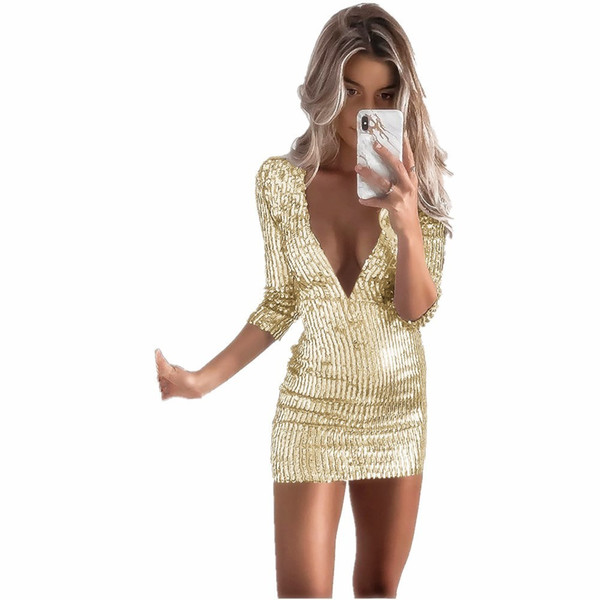 VITIANA Short Femme Sexy Party Dress Sequin Femme 2018 Summer col en V profond Solid Gold Noir Club Wear Bodycon Mini robes vente