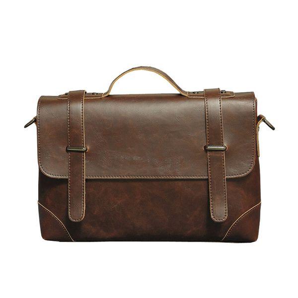 Diseñador de moda de verano documento hombres bandolera masculina conducta masculina bolsa sección horizontal color puro Pu Satchel Bag Maletines