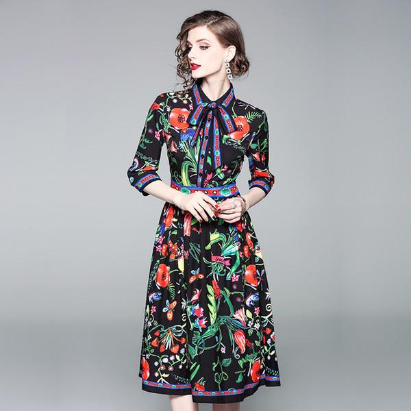 Retro Elbiseler Yeni Ince Kadın Başlangıçta Oluşturulan Kelebek Kravat Yedi Kollu Baskılı Yüksek bel Orta uzunlukta Etek yüksek kalite ücretsiz kargo