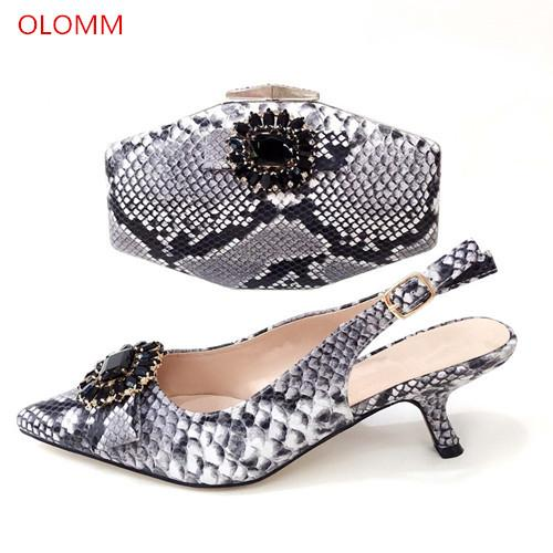 BLACK Shoes and Bag African Sets Italian lady shoes with Matching Bags Nigerian Women Shoes and Bag To Match for Party!TG1-1